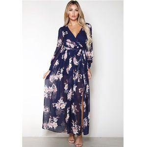 Papaya Floral Surplice Detail Maxi Dress